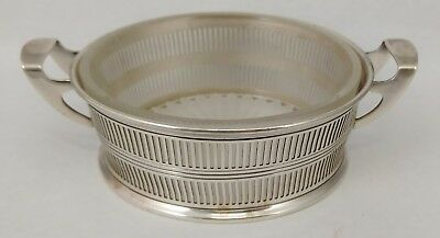 Antique ENGLISH Reticulated STERLING SILVER Frosted Glass BASKET Dish COASTER