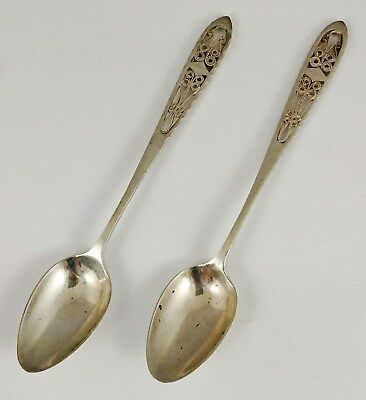 PAIR Antique 19th C Imperial RUSSIAN 80 SILVER Reticulated TEA Coctail SPOONS