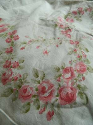 "Antique Victorian cotton fabric bedspread with printed roses design. 112"" x 64"""