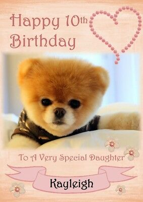personalised birthday card Pomeranian dog any name/age/relation.