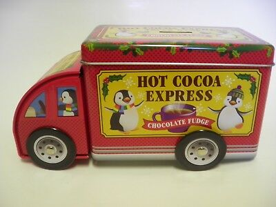 Hot Cocoa Express Tin Metal Can Container Coin Piggy Bank Rolling Wheels Penguin