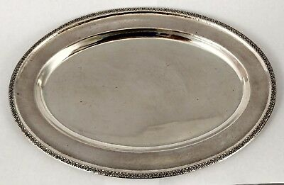 Oval Antique HAMMERED Art Nouveau Repousse STERLING SILVER TRAY Platter WEBSTER