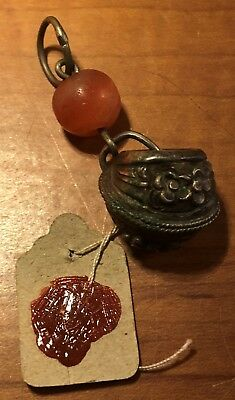 Antique Asian Jade Bead & Rattle Pendant Charm With Wax Seal- Chinese