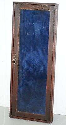 Old English Blue Velvet Lined Oak Display Collectors Cabinet With Original Key