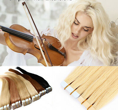 8A Russian THICK Tape In Remy Real Human Hair Extensions Straight 60pcs 150g UK2