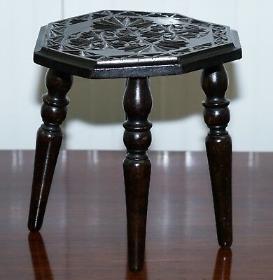 Very Small Liberty's London English Oak Side Table Plant Stand Carved Floral