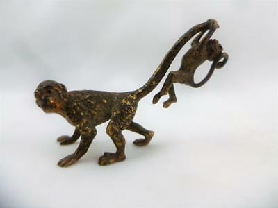 Lovely Little Antique Victorian Cold Painted Monkey & Baby c1900