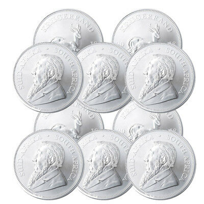 Lot of 10 Silver 2018 South Africa 1 oz Silver Krugerrand .999 fine Silver Coins