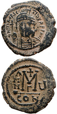Byzantine coin Maurice Tiberius, 582-602 A.D AE 30 Follis Constantinople Year 5