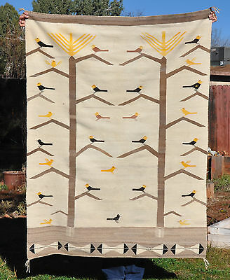 Large Navajo Indian Pictorial Rug - Corn Plants, Birds,  Feathers,  White Ground