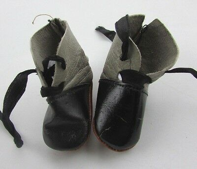 Antique Doll Shoes Leather Lace Up Boots French German Original Old Grey & Black