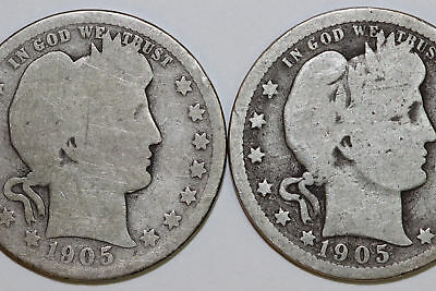 Lot of Two Barber 90% Silver Quarters Good 1905 P & About Good 1905 O (NUM2312)