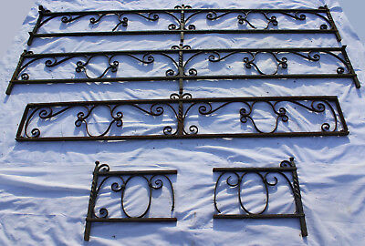 Set of wrought iron low fencing panels