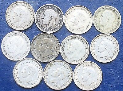Lot (11) Silver 1912-1945 Great Britain 3 Pence George V & VI Nice .291 Oz # WB8