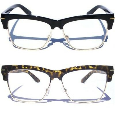 Half Frame Classic Vintage Inspired Browline Retro Style Clear Lens Glasses new