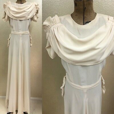 "Vintage 1940's Ivory Wedding Dress Gown Handmade Rayon Short Sleeve Bow 28"" W"