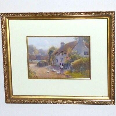 Pretty Village Scene with Thatched Cottages and Garden, by J.W. Milliken