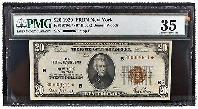 Fr#1870-B☆ 1929 $20 Star Federal Reserve Bank Note PMG 35