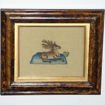 17th Century Silk Stumpwork Spot Motif:  Stag at Rest