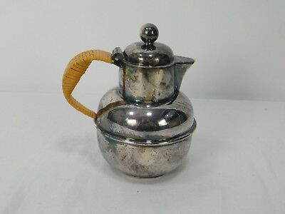 EGW&S International Silver Small Tea Pitcher or Creamer with Wicker Handle