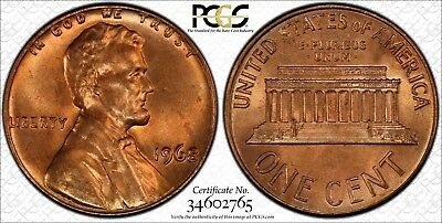 1968 P PCGS MS 65 RD Lincoln Memorial Small Cent PCGS# 34602765