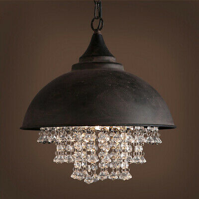 Vintage Industrial Wrought Iron Pendant Light Lamp Crystal Ceiling Chandelier