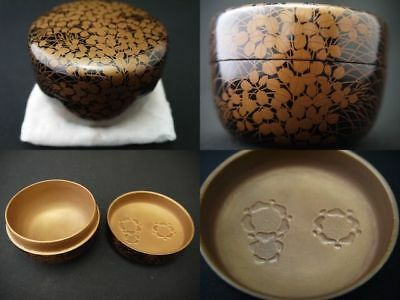 Japanese Lacquer Wooden Tea caddy BUSH CLOVER and PLUM makie Hira-Natsume (828)