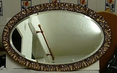Vintage, Oval Beautifully Moulded Acanthus Leaf, Bevelled Edged Mirror Vgc