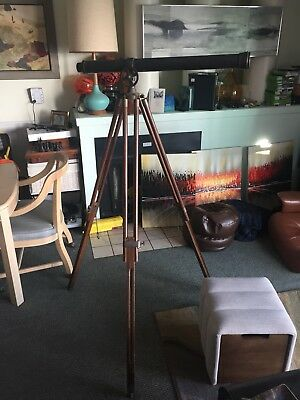 Vintage Brass Library Telescope with Brass and Wood Tripod Base Maker?
