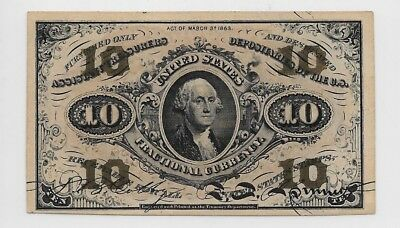 #1251 10c Third Issue-US Fractional Currency-CH63-Red Reverse-Catalog $250  h50