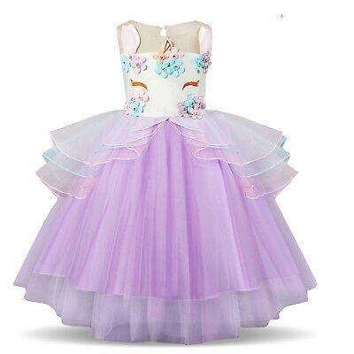 Unicorn Princess Flowers Girls Kids Wedding Bridesmaid Birthday Party Tutu Gown
