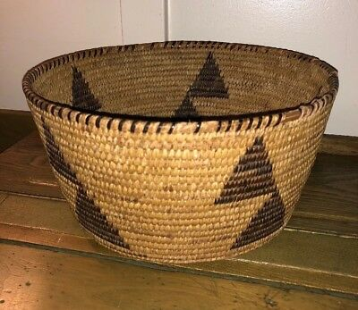 "Antique Native American California Mission Basket 11x 5 3/8"" 1890-1910s Indian"