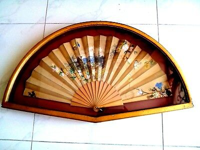 Antique Chinese Hand Painted Fan With Beautiful Frame