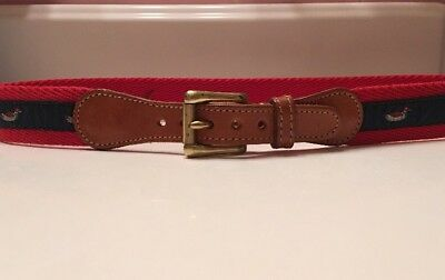 """Boy's Belt Navy Duck Ribbon Red Canvas Leather Tabs England 28 1/2"""" Size 12 14"""