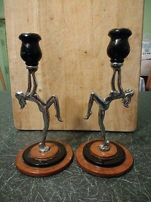 Pair of Art Deco? Style Wood and Metal Candlesticks with naked Woman Design