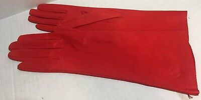 Lavabile Gloves Kid Leather Imported Lipstick Red Long size 7 Vintage