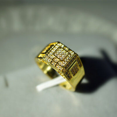 MENS 18k Gold Plated  Iced Out Ring Crystal Hip Hop Bling Pinky Ring