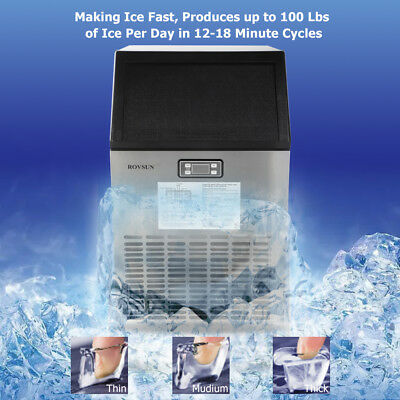 US Stainless Steel Commercial Ice Maker Portable Ice Machine Restaurant Bar Home