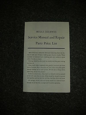 Vintage Mills Silents Service  Manuel And Repair  & Parts List