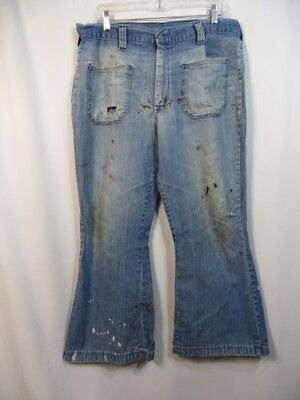 Vtg Denim Jeans Distressed Wrangler Flat Front Pockets Patch Paint AS IS Work