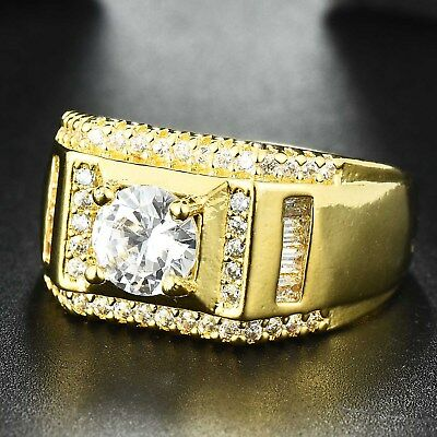 18k Gold Plated Iced out Hip Hop CZ Crystal Bling Pinky Big Stone Ring