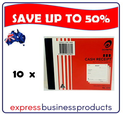 10 Pack Olympic #615 Triplicate Cash Receipt Book – AO140884