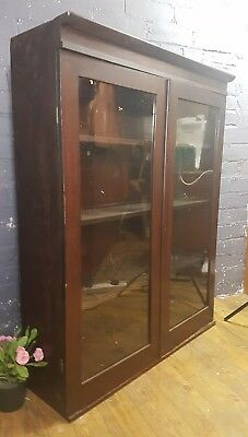 Antique Glazed Mahogany 2 Door Bookcase with Adjustable Shelves can deliver