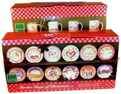 222 Fifth Twelve Days of Christmas Salad Dessert Plate & Mug Set New in Box