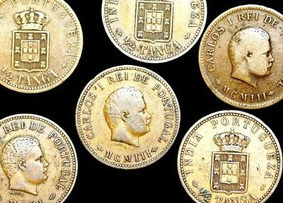 Five (( 5 ) Portuguese India, Carlos I  1/2 Tangka Coins F-VF Dated 1901 or 1903