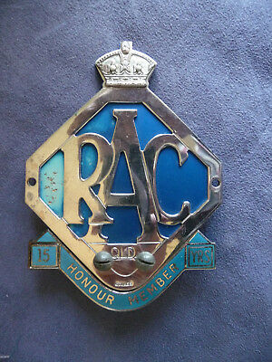RACQ Honour Member car badge and 15 year attachment. Rare opportunity.