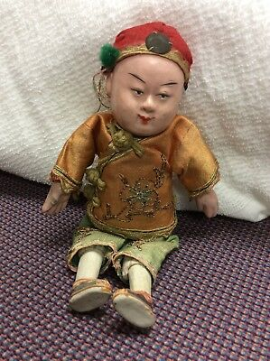 """ANTIQUE COMPOSITION CHINESE BOY DOLL Original Outfit - 7"""""""