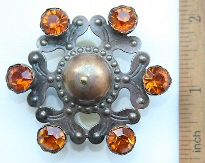 Antique Vintage Ethnic Brass Brooch Pin Fibula With Yellow Stones (JAN)
