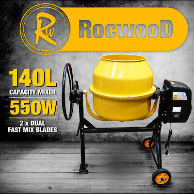 Electric Cement Concrete Mixer RocwooD 125 Litre 550W Drum Mortar Plaster