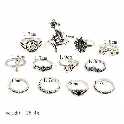 Elephant Cross Joint Ring Set New Popular Ancient Silver Bohemian Female Rose LT